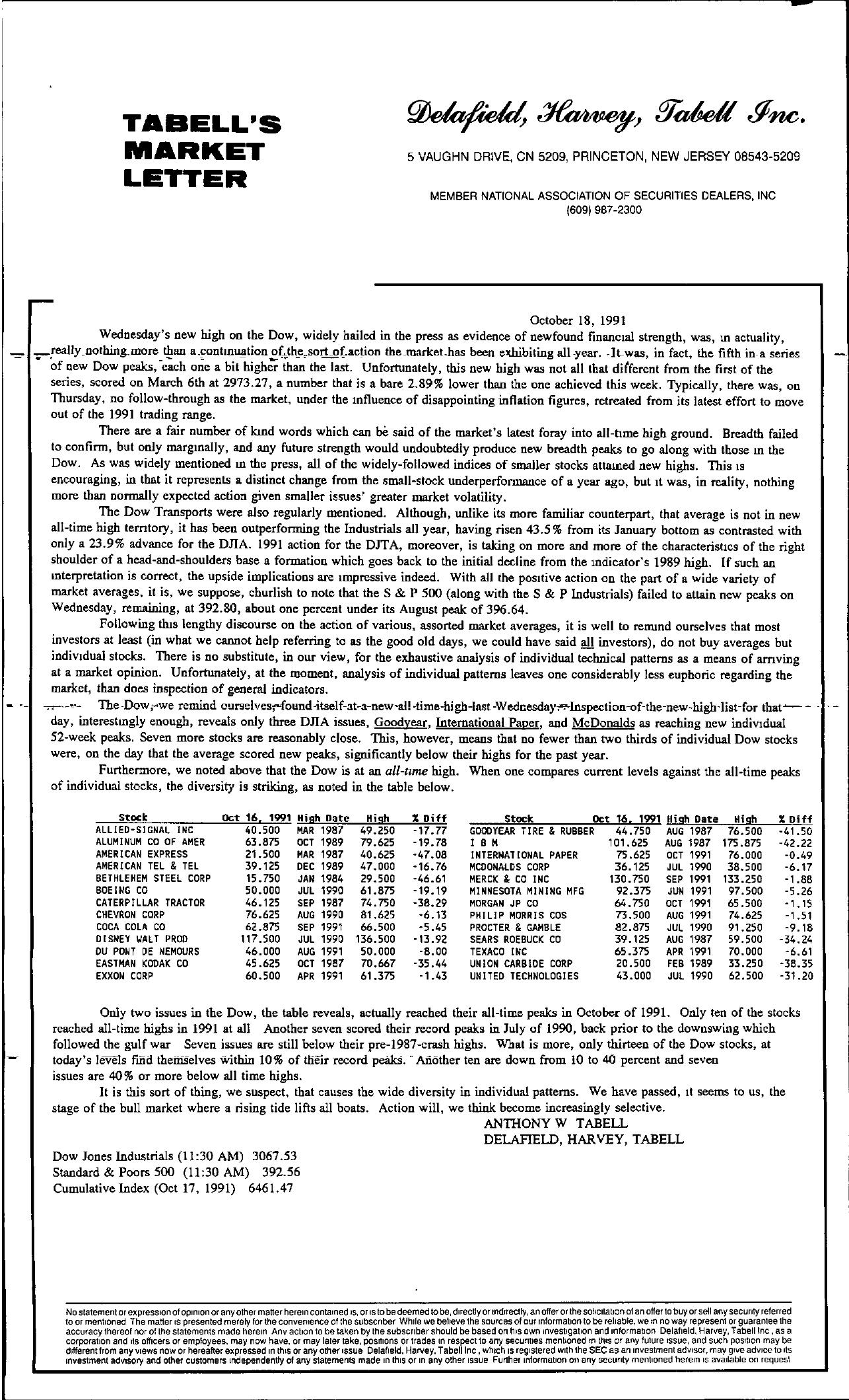 Tabell's Market Letter - October 18, 1991