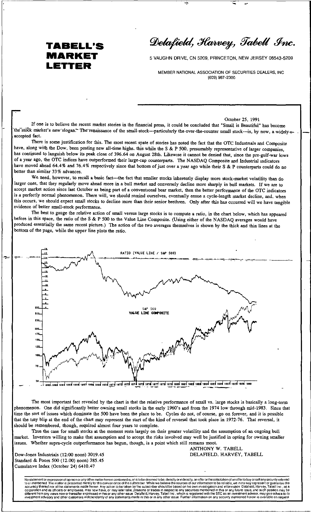 Tabell's Market Letter - October 25, 1991