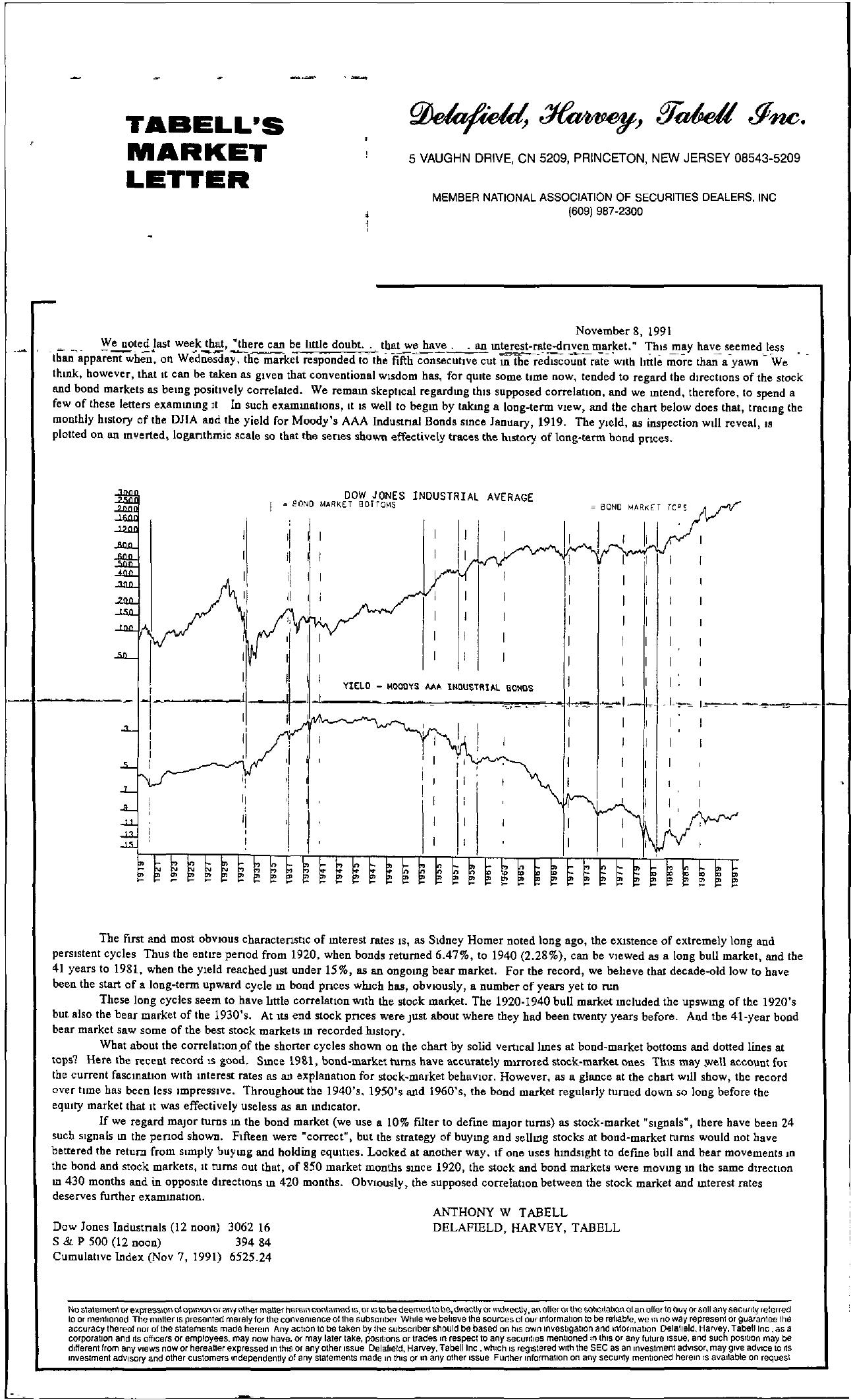 Tabell's Market Letter - November 08, 1991