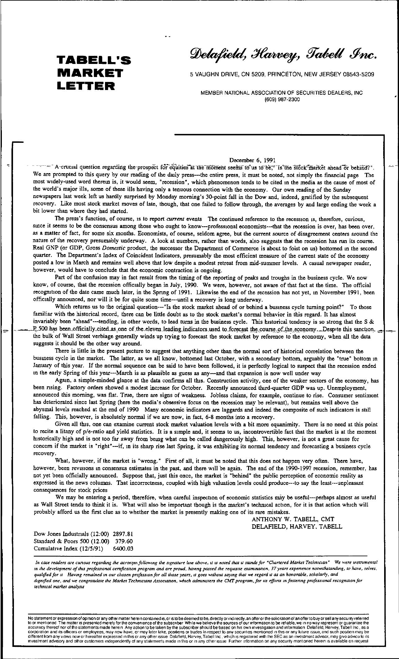 Tabell's Market Letter - December 06, 1991