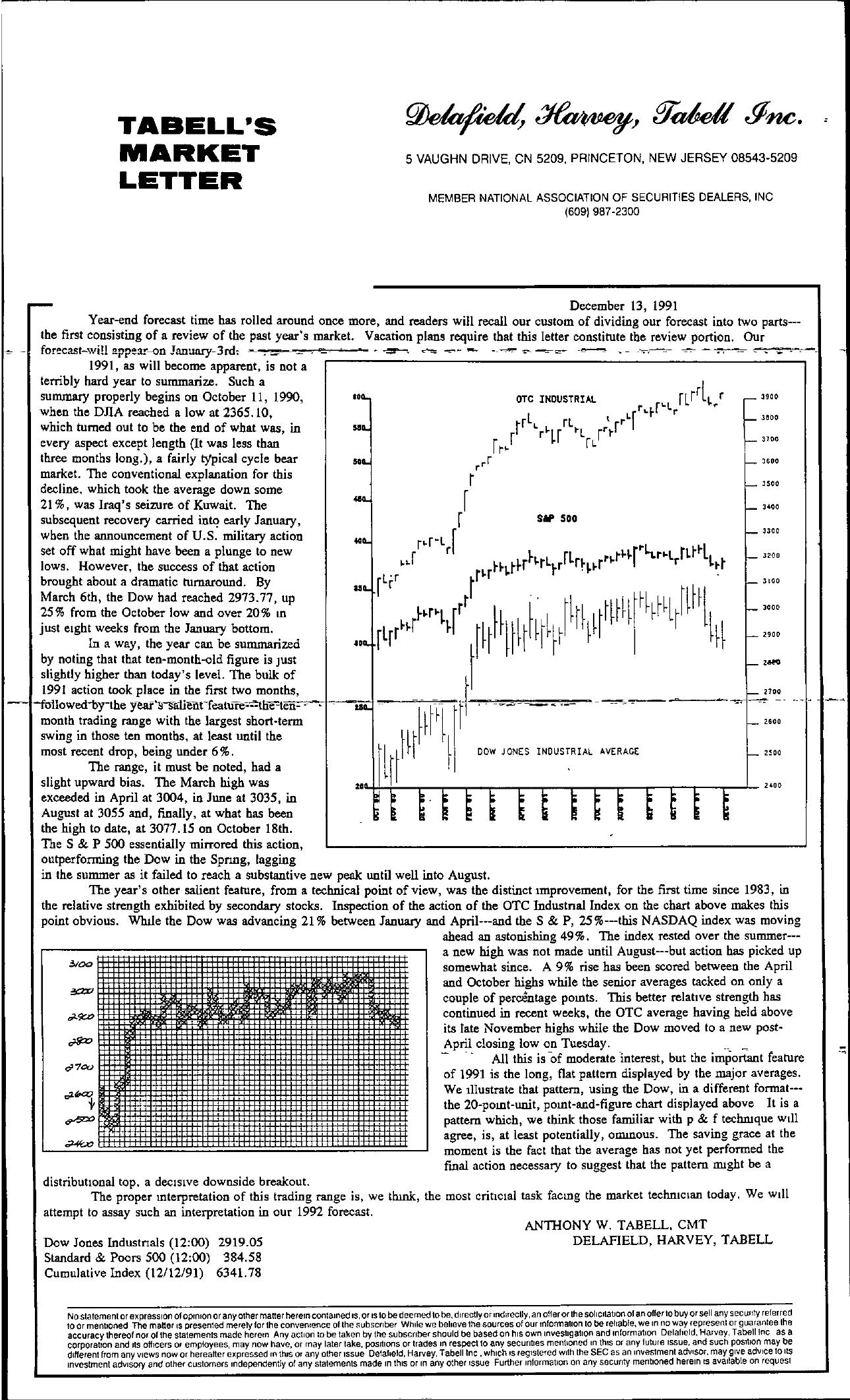 Tabell's Market Letter - December 13, 1991